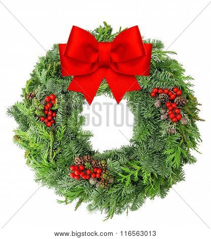 Christmas Wreath From Pine And Spruce Red Ribbon Bow