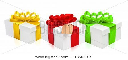 Gift Box With Ribbon Bow Decoration. Holidays Decoration