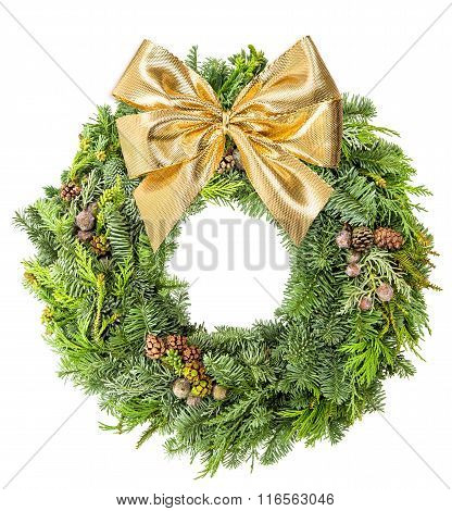 Christmas Wreath Pine And Spruce Golden Ribbon Bow