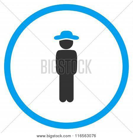 Gentleman Standing Circled Icon