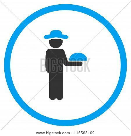 Human Figure Waiter Circled Icon