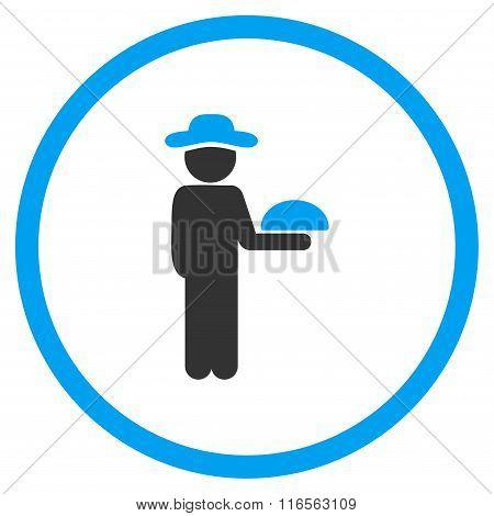 Human Figure Waiter Circled Icon