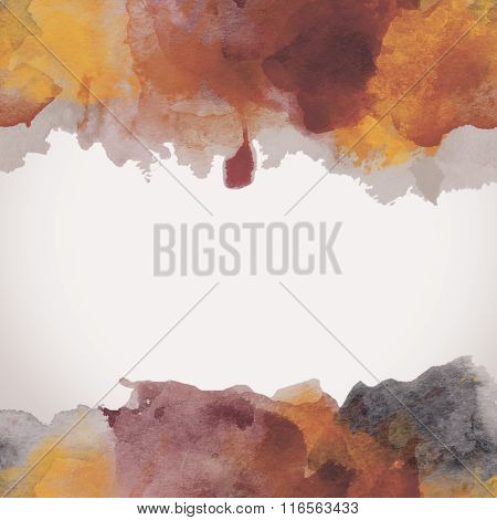 Autumn Paper Watercolor Backdrop With Colorful Blobs And Place For Text.
