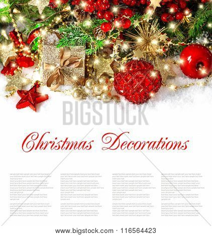 Christmas Decoration Golden Ornaments And Lights