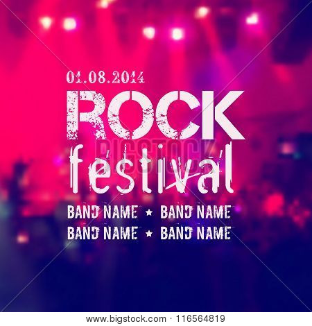 Vector blurred background with rock stage and crowd. Rock festival design template