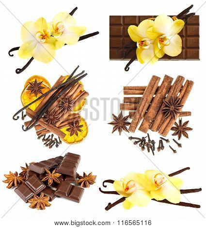 Vanilla Pods With Orchid Flower, Chocolate, Cinnamon Sticks