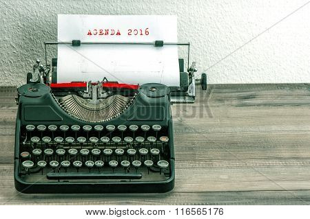 Typewriter With White Paper. Business Concept. Agenda 2016