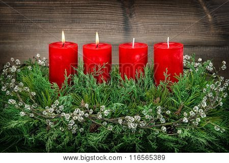 Advent Decoration With Red Burning Candles Vintage Style