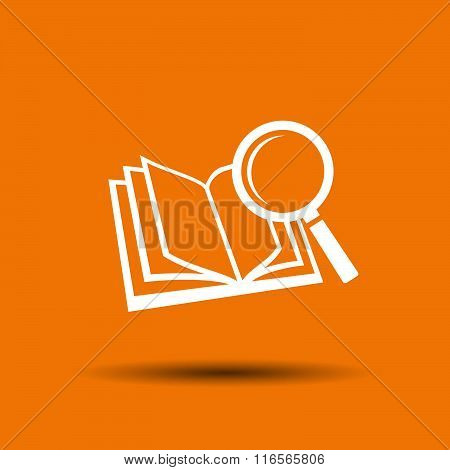 Pictograph of book and magnifier glass