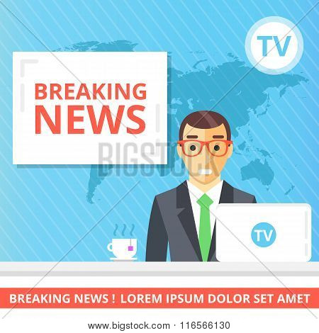 Breaking news flat illustration concept. Newscaster in the television studio
