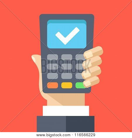 Hand holding pos terminal flat illustration concept. Successful transaction