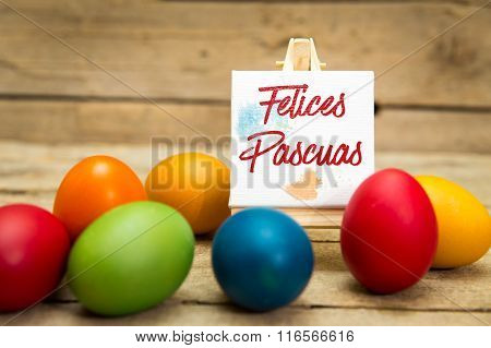 Colorful Easter Eggs With Spanish Text