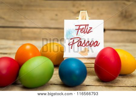 Colorful Easter Eggs With Portuguese Text