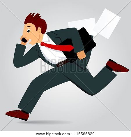 Running businessman with bag and talking by phone. Vector Illustration