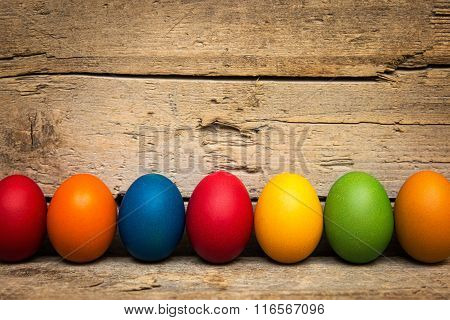 A Row Of Colorful Easter Eggs