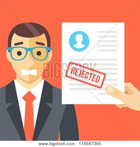 Sad man and rejected application form flat illustration concept