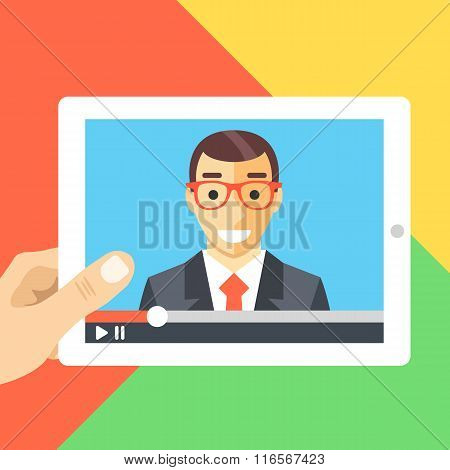 Online conference, online tutorials, webinar, watching video flat illustration