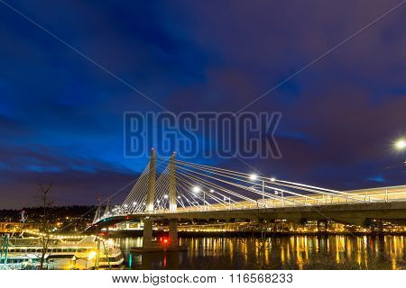 Light Trails On Tilikum Crossing At Blue Hour