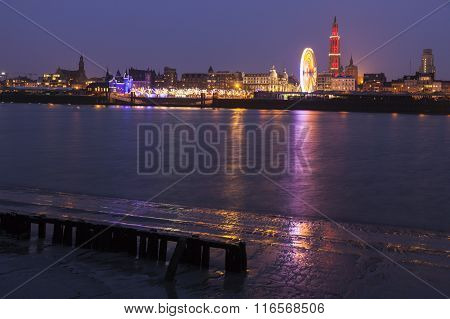 Panorama Of Antwerp Across Scheldt River