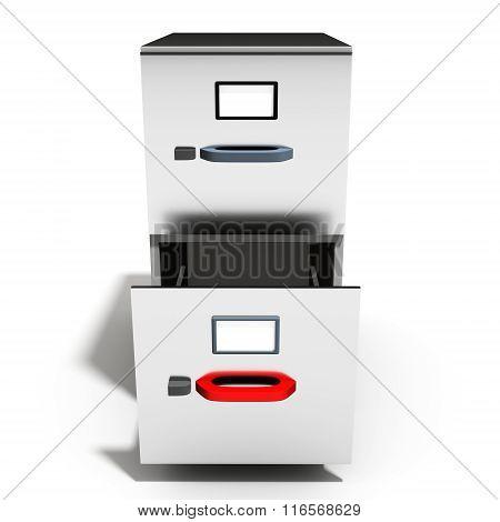 3D Empty Open File Cabinet