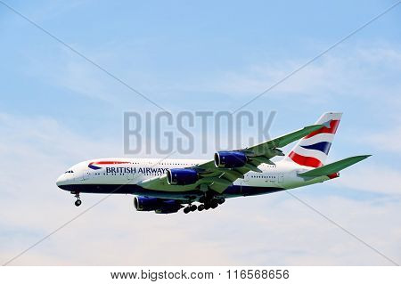 HONG KONG - JUNE 04, 2015: British Airways A380 landing at Hong Kong airport. British Airways is the flag carrier airline of the United Kingdom