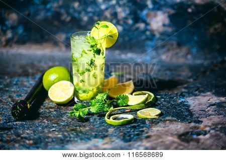 Mojito Cocktail In A Bar On A Metal Table, Selective Focus And Details