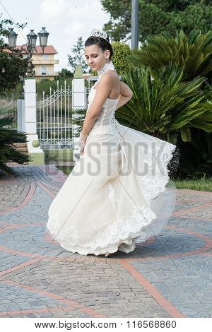 Girl With White Dress That Makes A Turnaround