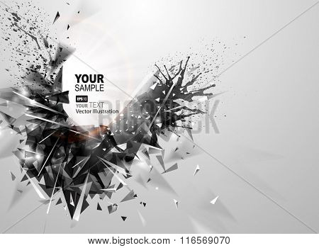 Geometric black abstract element for banner. Modern triangular formed by abstract expressive figure