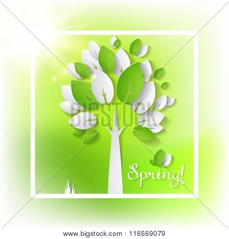 paper green tree on the spring abstract background