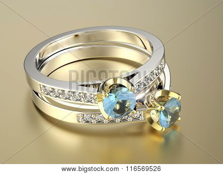 Wedding ring with diamond. Sign of love. Fashion jewellery