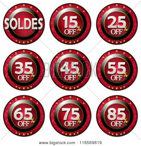 Red Tag With Discounts Soldes Set