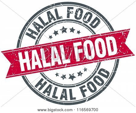 Halal Food Red Round Grunge Vintage Ribbon Stamp
