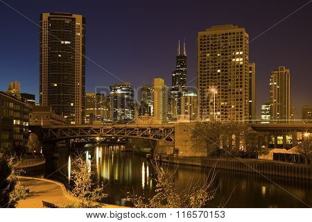 Chicago River And City Skyscrapers
