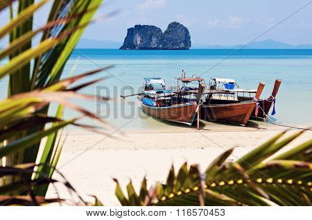 Long Tail Boats On The Beach