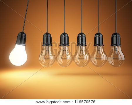 Idea o creativity concept. Light bulbs and perpetual motion. 3d