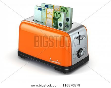 Toaster baking euro. Financial business concept. 3d