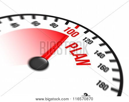 Speedometer Focused On A Hundred Percent Plan