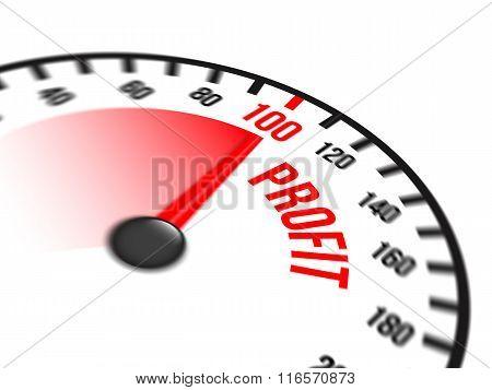 Speedometer Focused On A Hundred Percent Profit