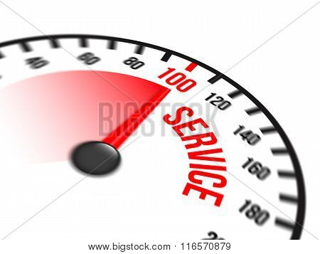 Speedometer Focused On A Hundred Percent Service