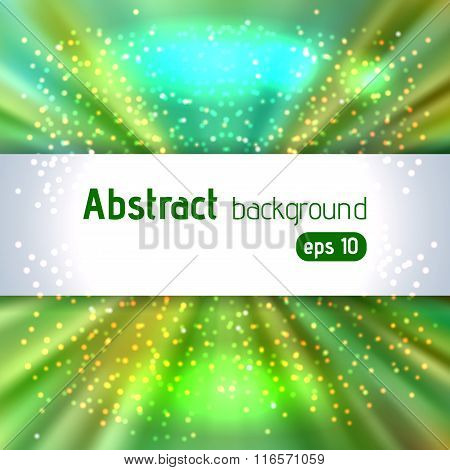 Abstract Artistic Background With Place For Text. Green Color Rays Of Light. Original Sparkle Design