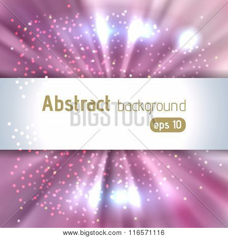 Vector Illustration Of Abstract Background With Blurred Magic Light Rays, Vector Illustration. Pink