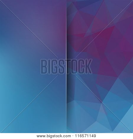Background Made Of Triangles. Blue, Purple, Violet Colors. Square Composition With Geometric Shapes