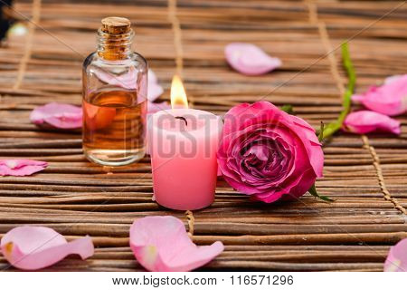 Pink Candles and rose, Petals ,oil on mat
