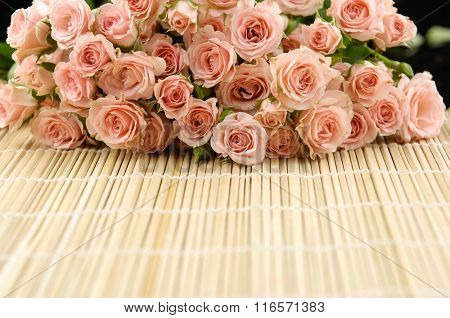 bouquet rose on mat background
