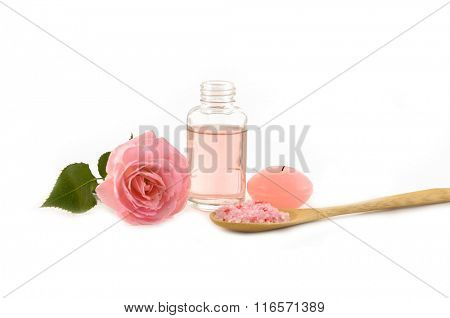 Objects for Spa with towel and rose still life