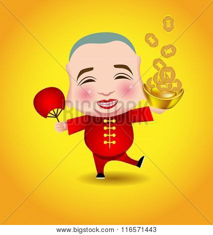 Chinese New Year  Man With Smile Mask On Yellow Background