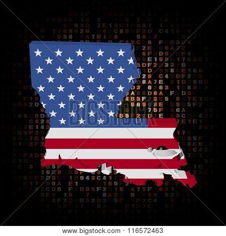 Louisiana map flag on hex code illustration