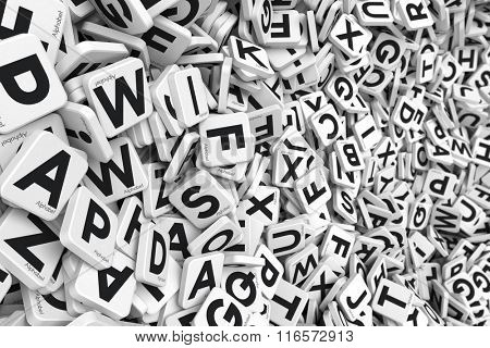 3D rendering of a background made of letter tiles