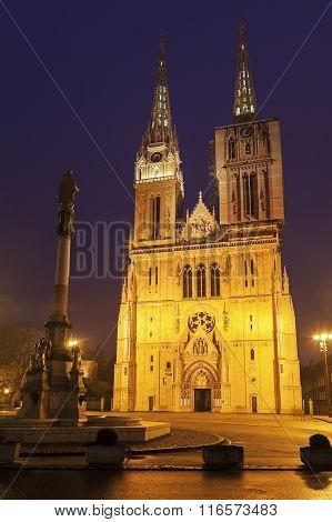 Zagreb Cathedral On Kaptol Square