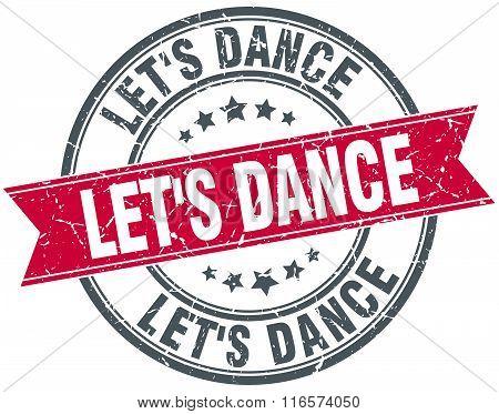 let's dance red round grunge vintage ribbon stamp